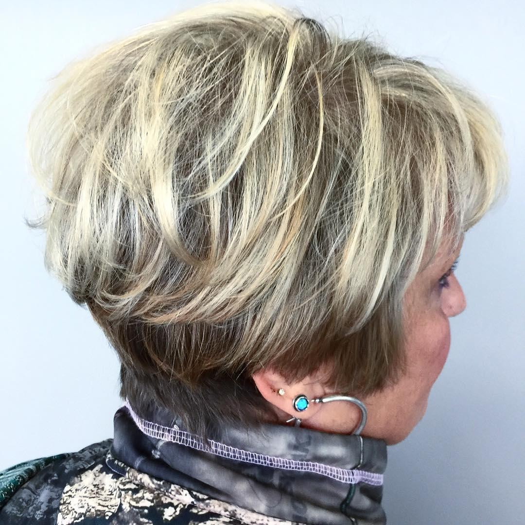 Long Blonde Pixie with Dark Roots for Older Women