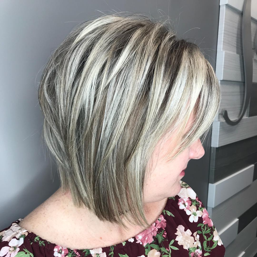 Layered Ash Blonde Bob with Silver Highlights