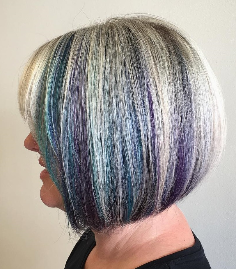 Gray Bob with Blue and Purple Streaks