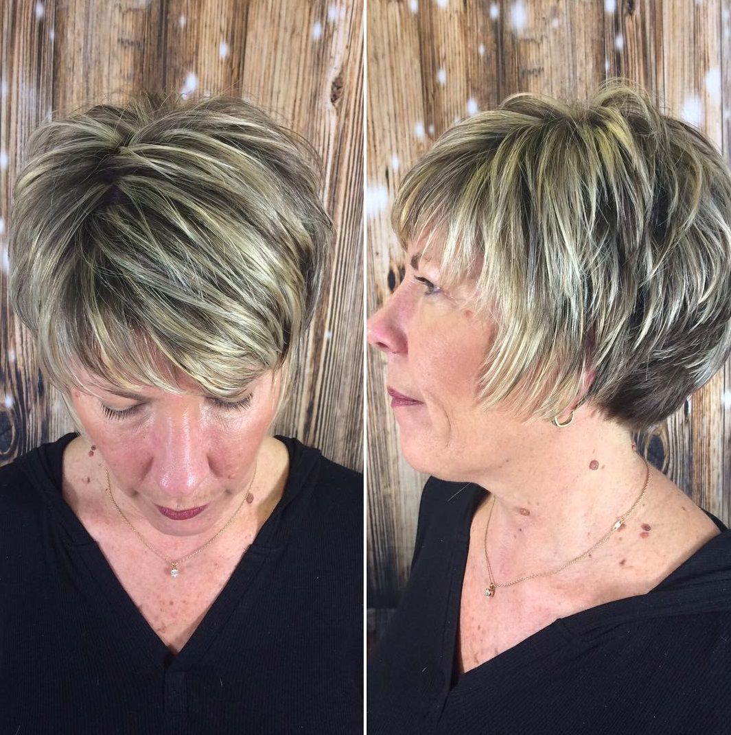 50+ Feathered Dark Blonde Pixie with Light Blonde Highlights