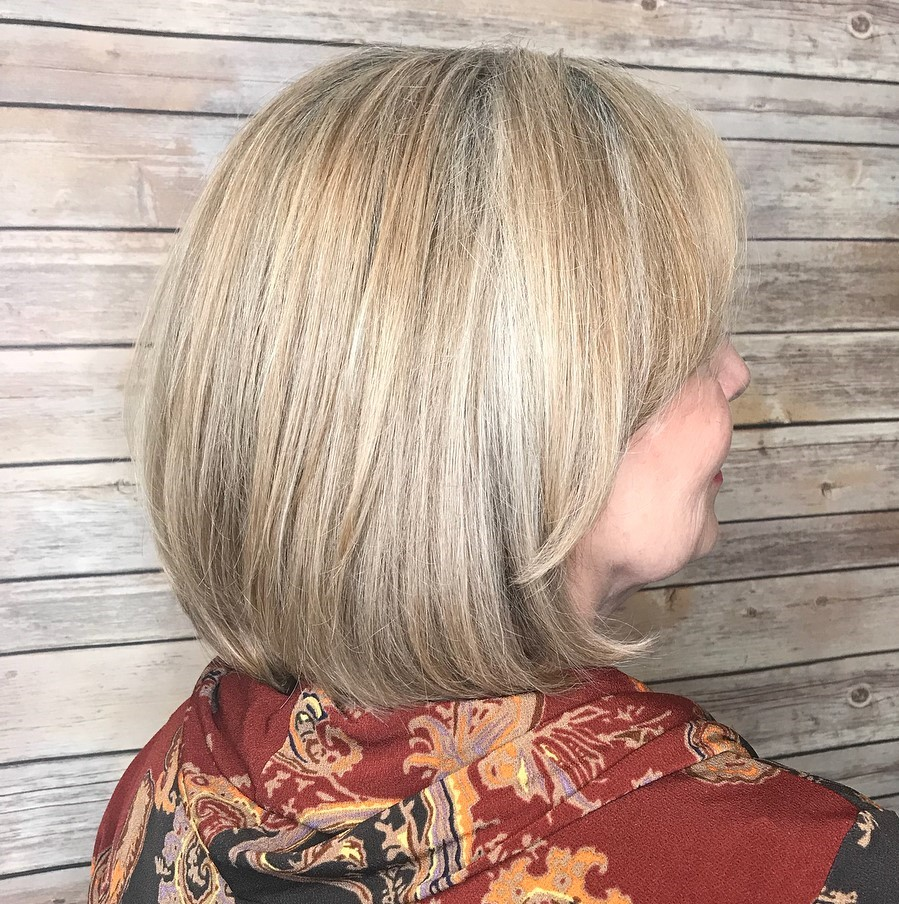 Gray Blonde Bob with Bangs for Older Ladies