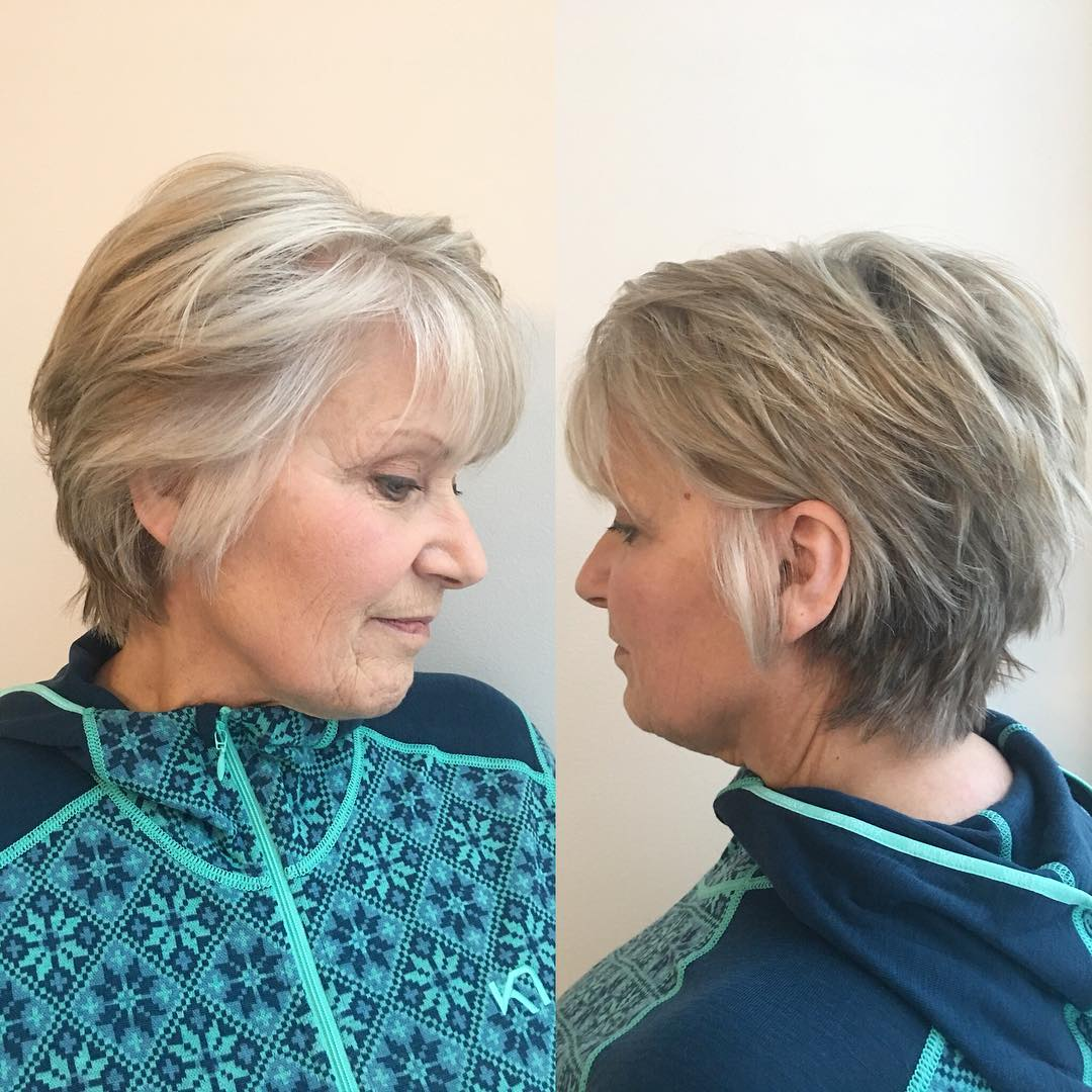 Short Layered Gray Haircut for Older Women