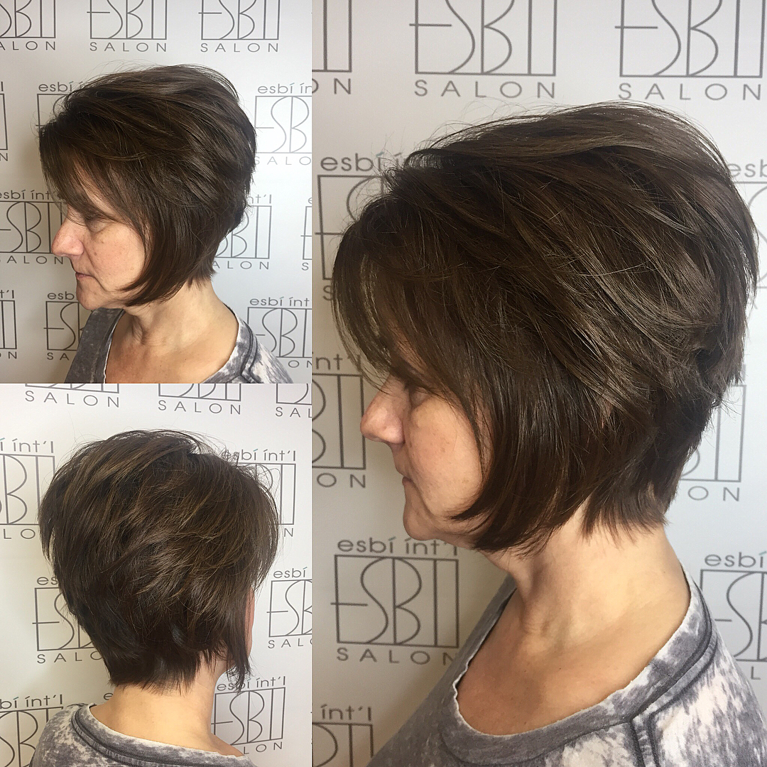 Short Stacked Chin-Length Shaggy Cut