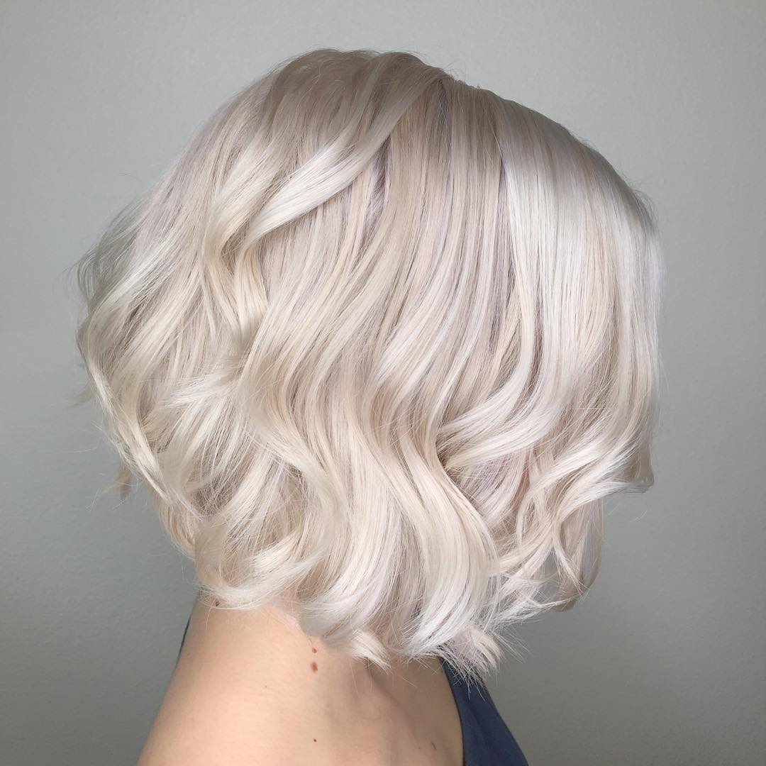 Inverted Curly Silver Thin Bob with Retro Waves