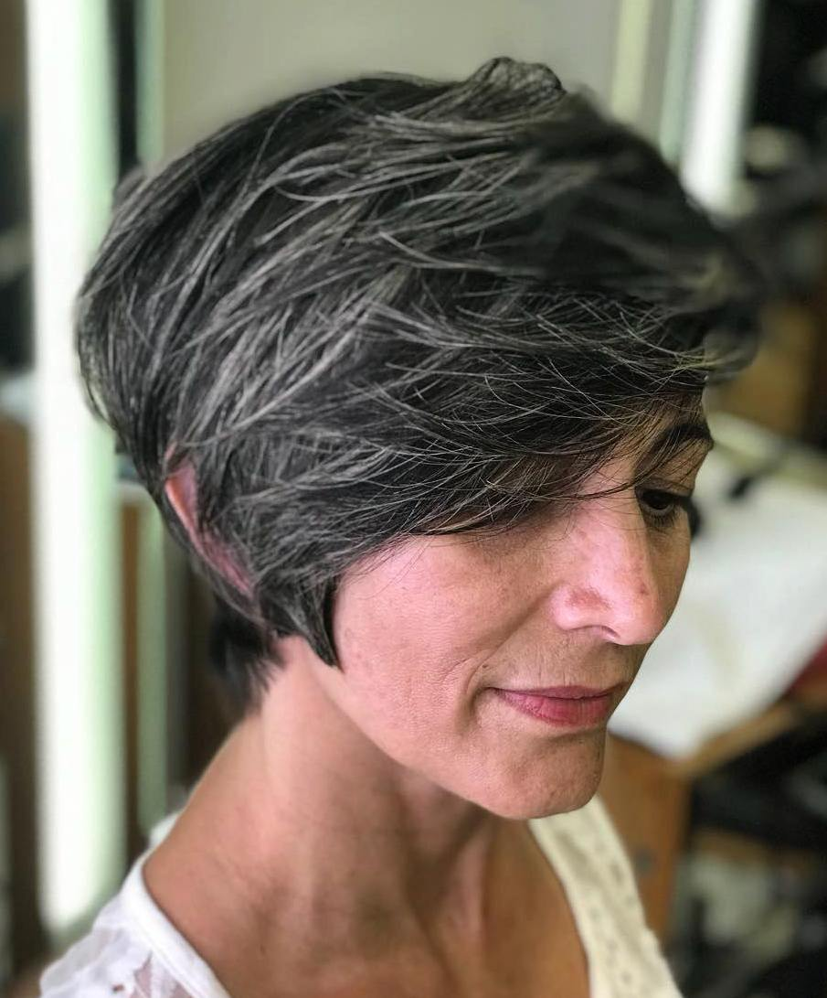 Long Dark Gray Pixie with Silver Hairs