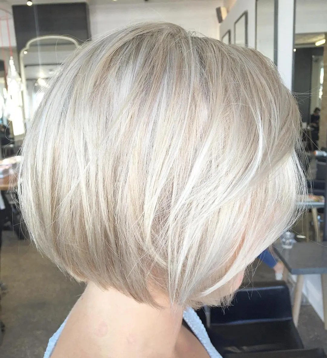 Chin-Length Bob with Fine Layers