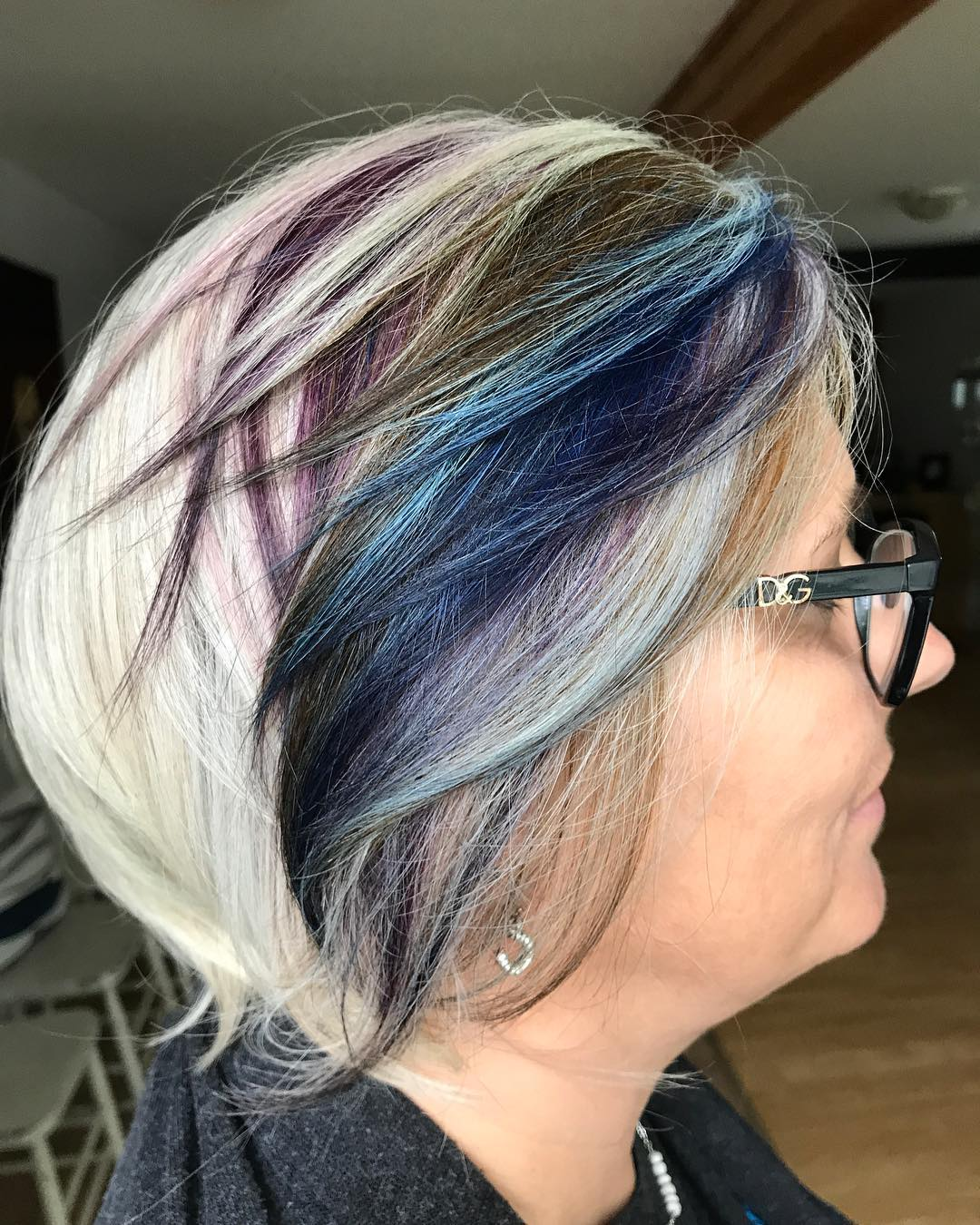 White Gray Hairstyle with Colorful Highlights