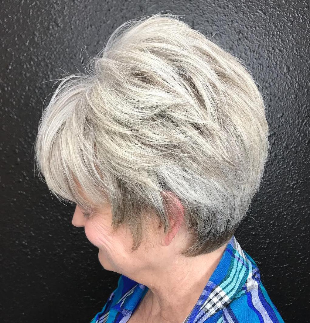 Voluminous Short Gray Hairstyle for Thick Hair