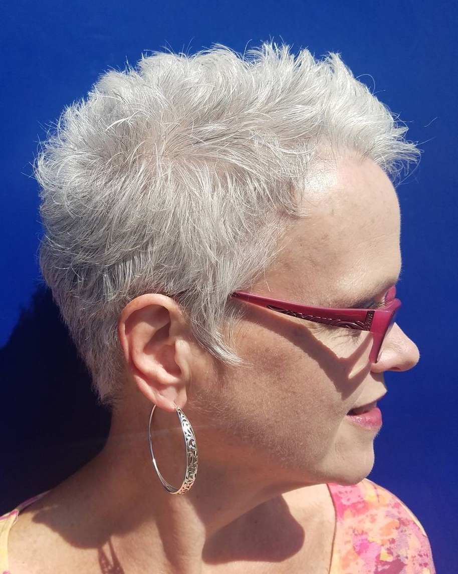 Textured Spiky White Gray Pixie