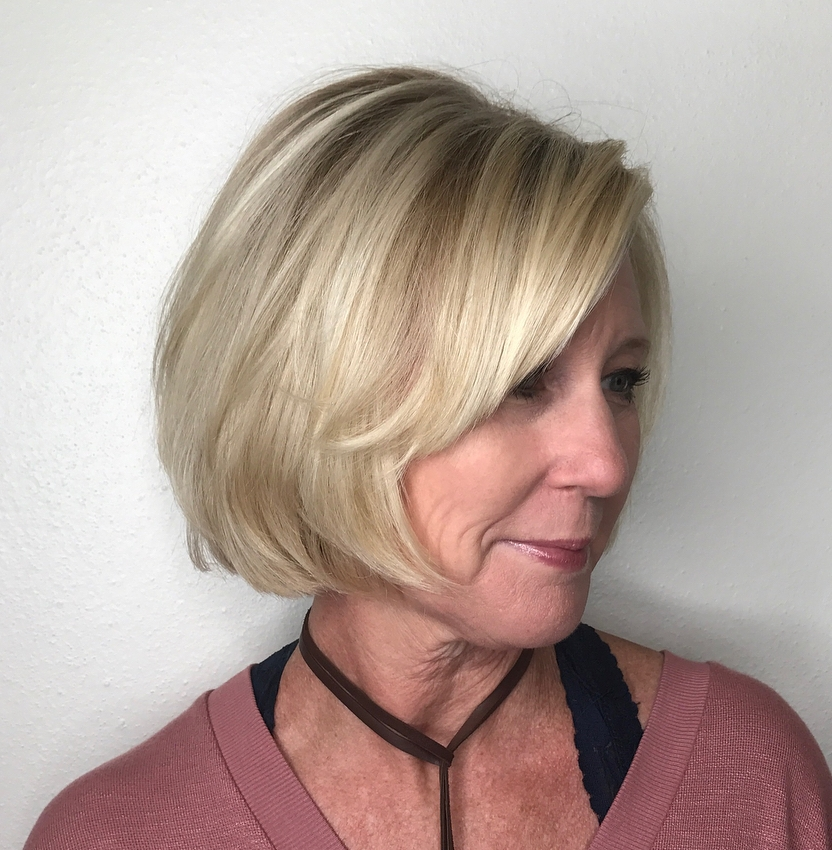 Blonde Bob with Side Bangs for Women over 50
