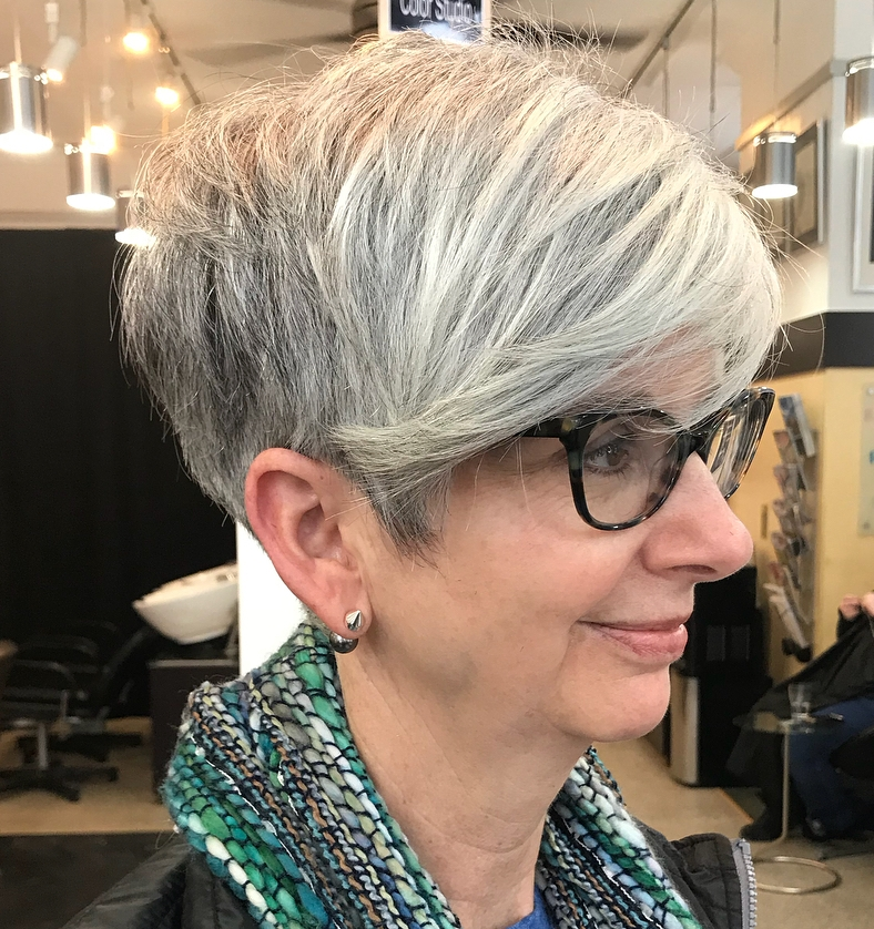 Thick Hair Gray Pixie with Side Bangs 50+