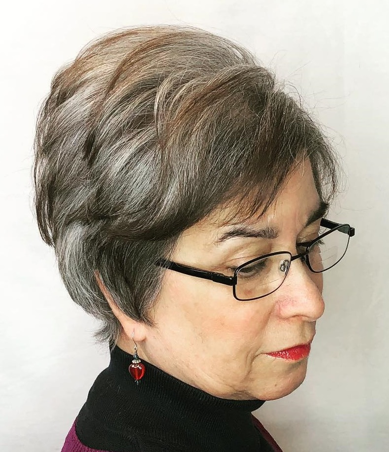 Short Full Gray Hairstyle with Brown Lowlights