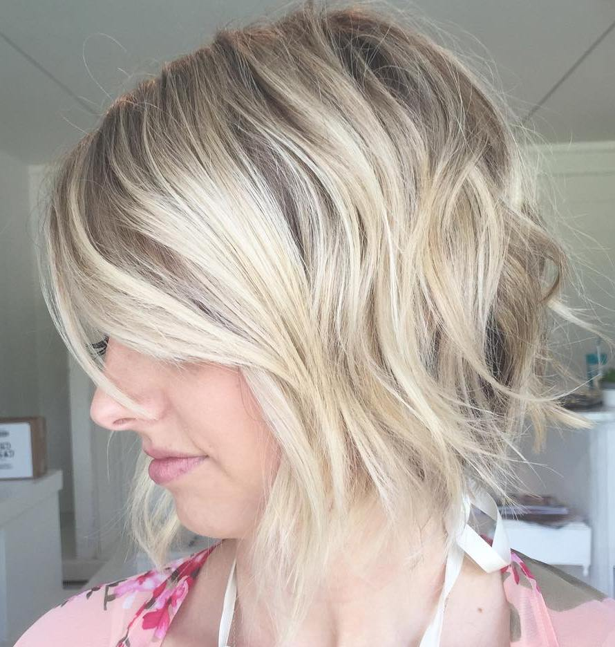 Short Shaggy Blonde A-Line Bob for Thin Hair