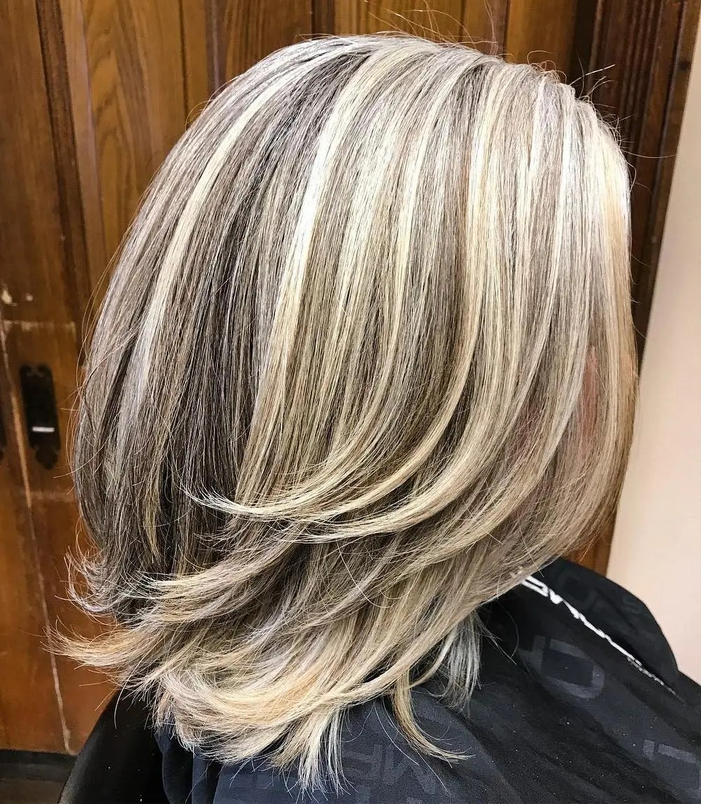 Mid-length Natural Gray with Blonde Streaks Hairstyle