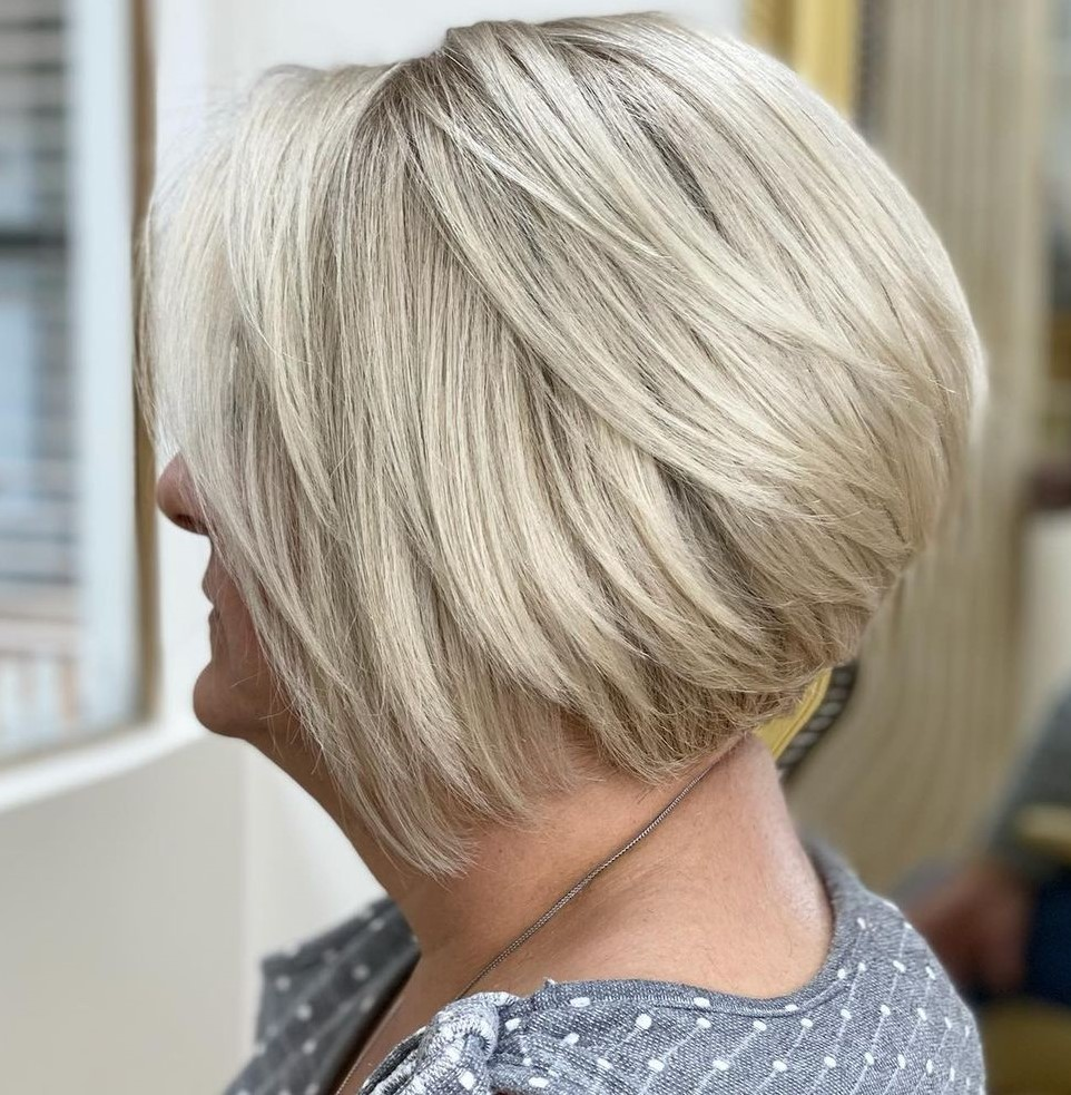 Stacked Blonde Bob Over 50
