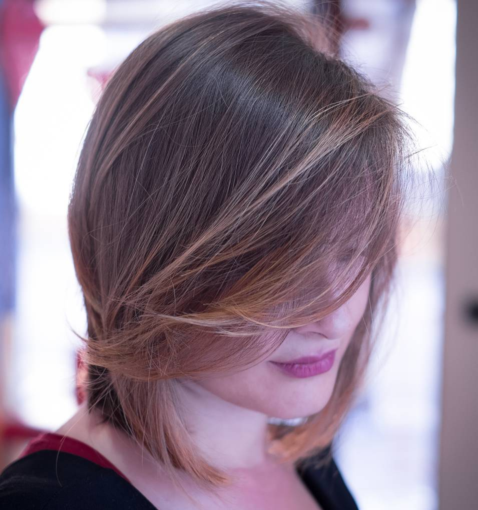 Neck-Length Bob with Long Side Bangs with Highlights