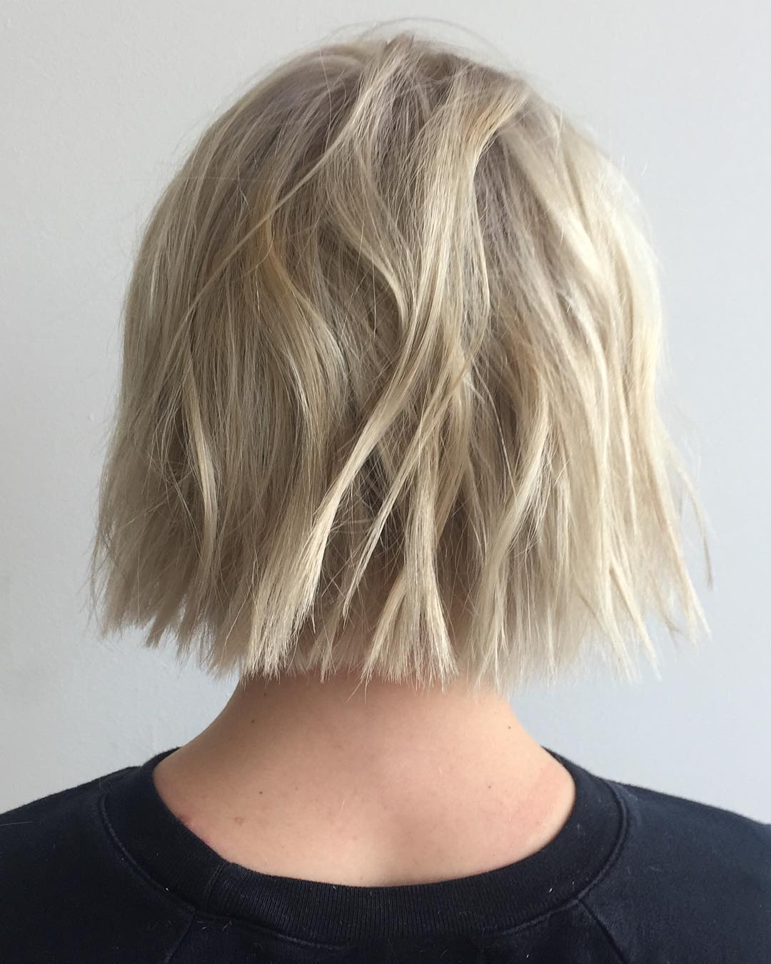 One-Length Blonde Bob with Choppy Ends