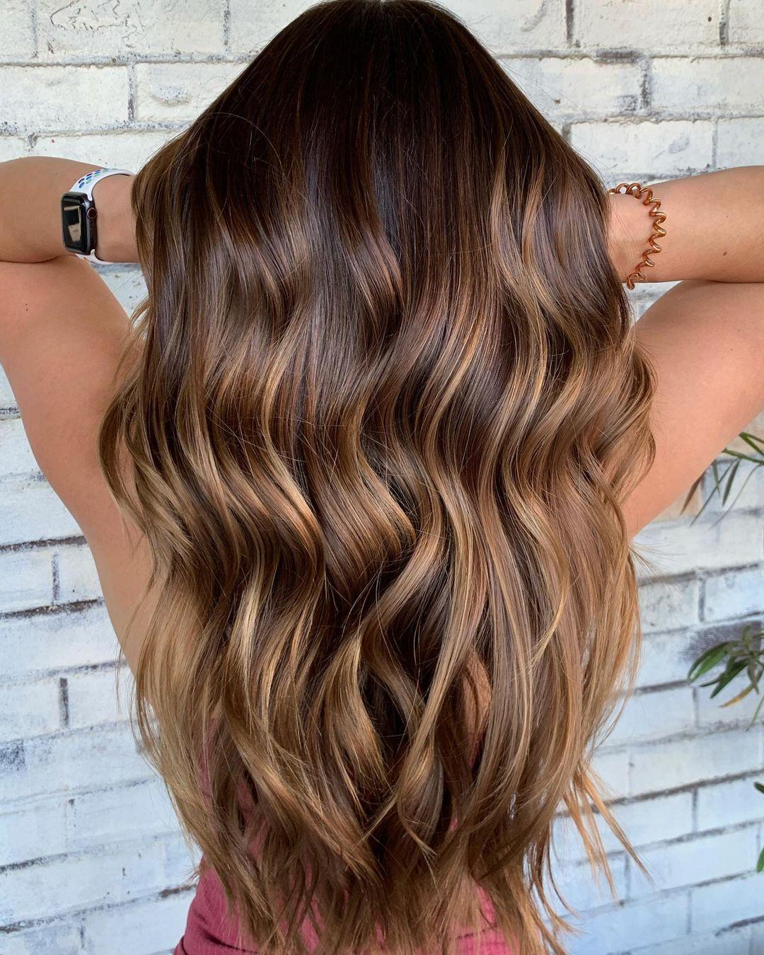 Cinnamon Balayage for Brown Hair