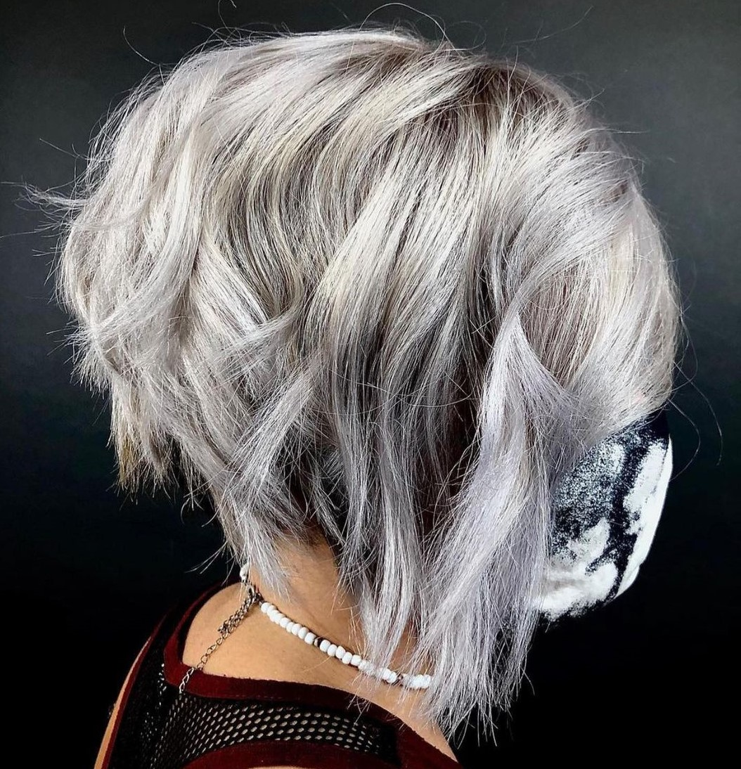 Gray Inverted Bob with Waves