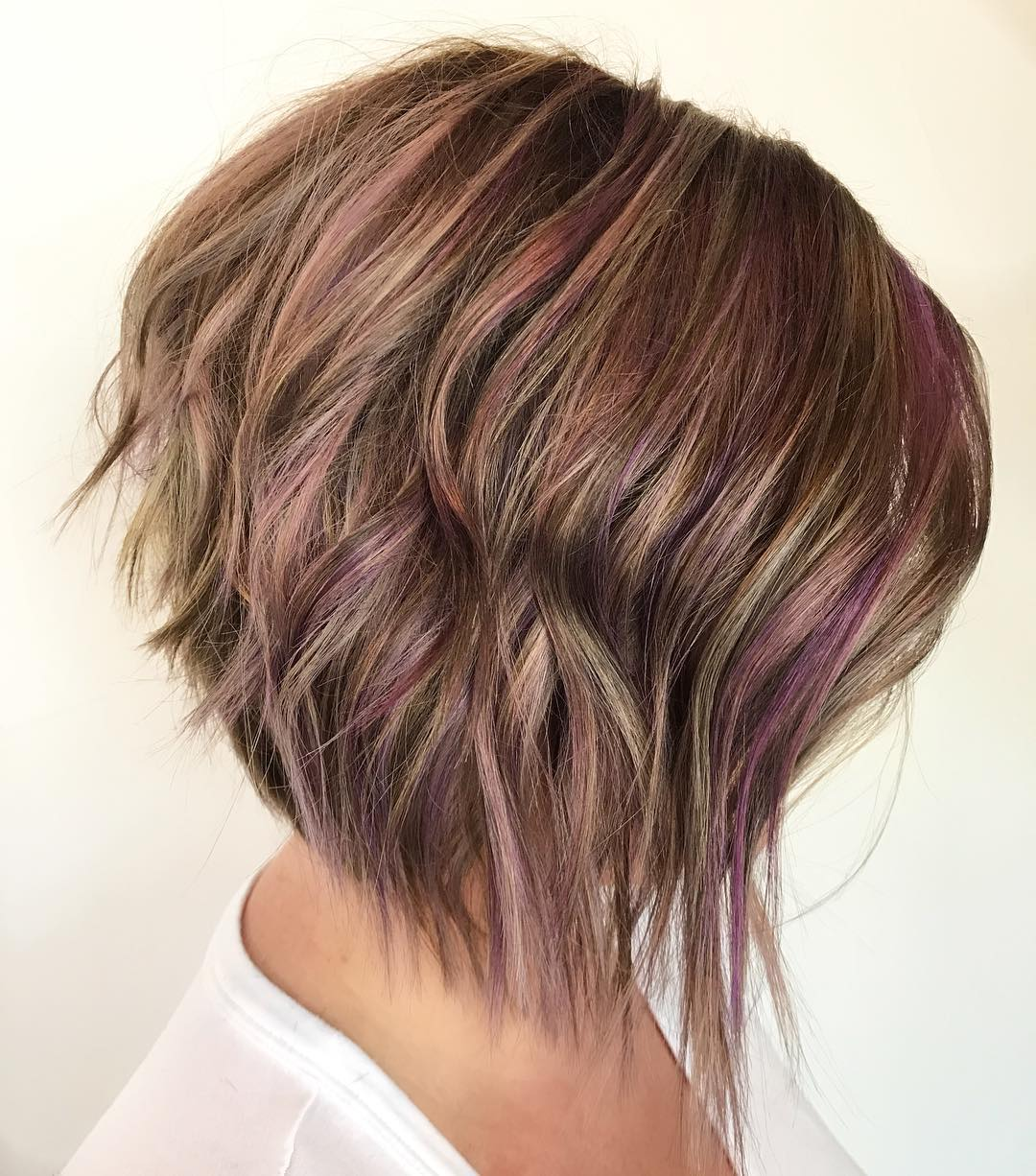 Razored Graduated Brown Bob with Purple Highlights