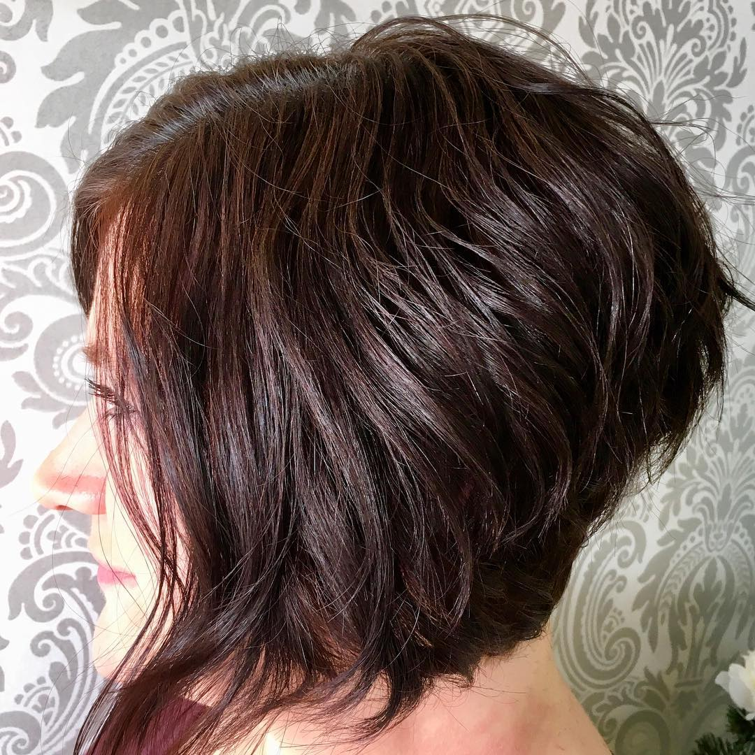Stacked Bob with Long Front Pieces for Thick Hair