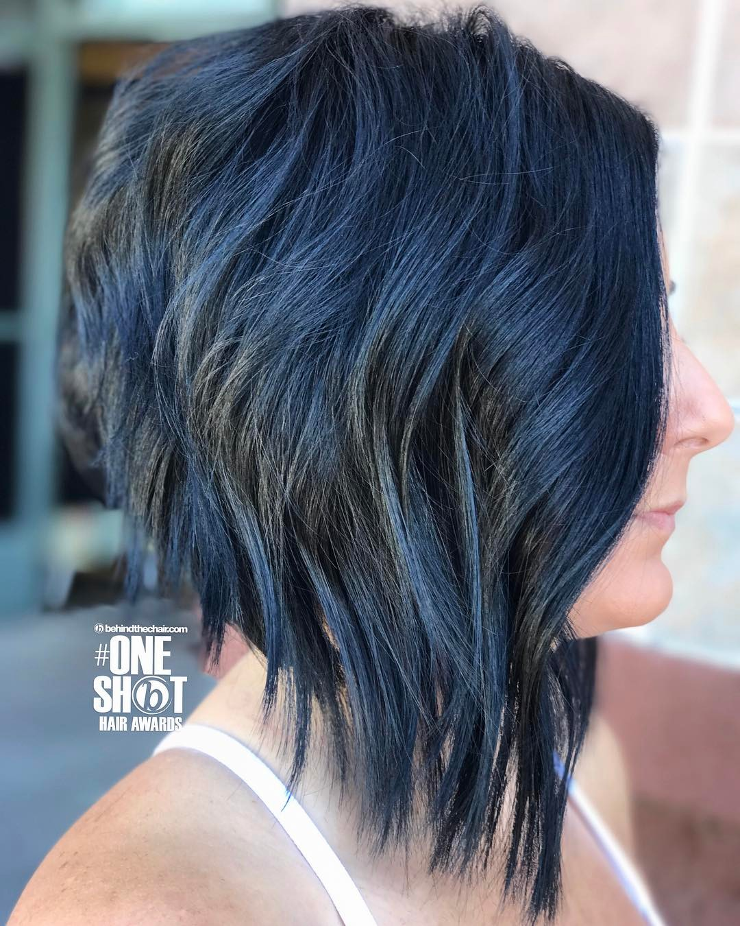 Blue Black Choppy Stacked Bob with Razored Ends