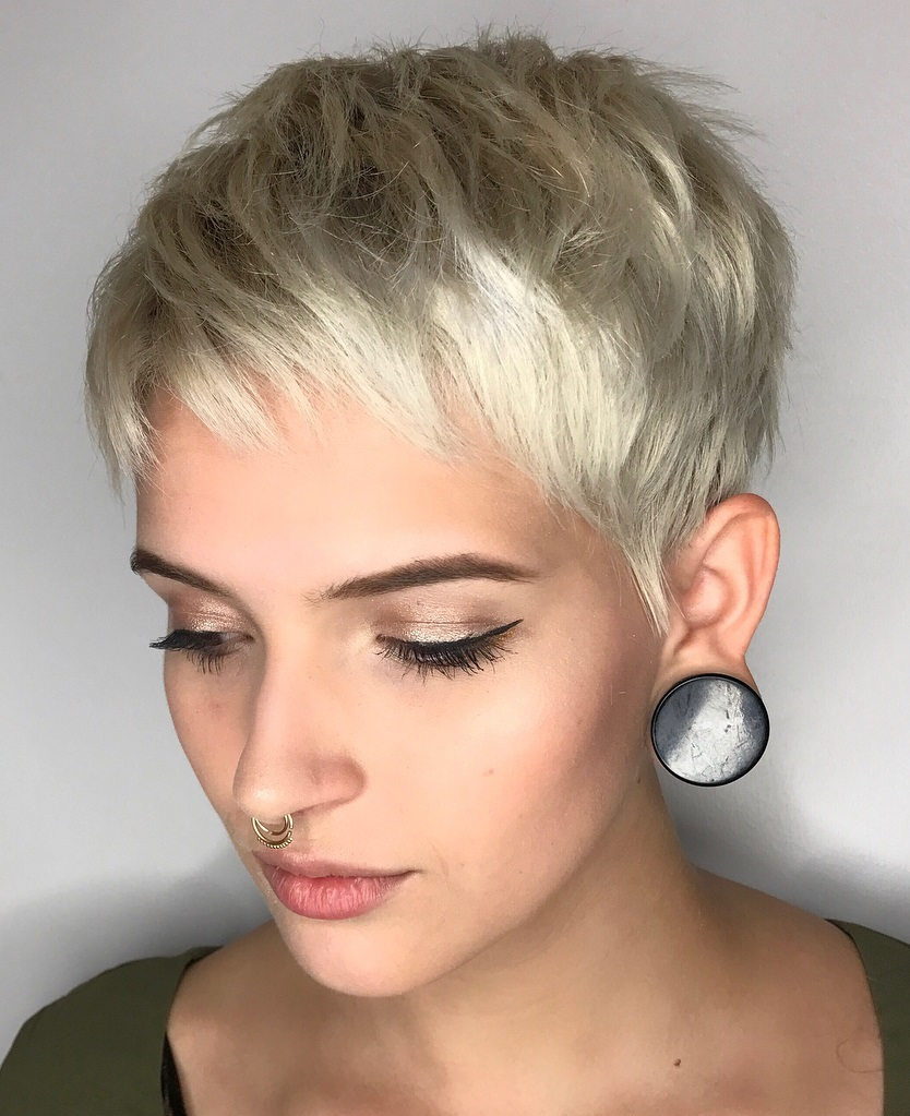 Short Razored Light Metallic Blonde Pixie