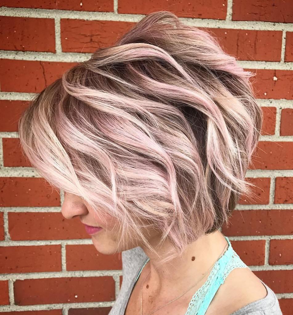 Layered Pastel Short Thick Haircut
