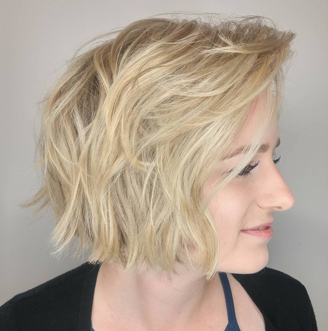 Jaw-Length Choppy Light Blonde Bob with Layers