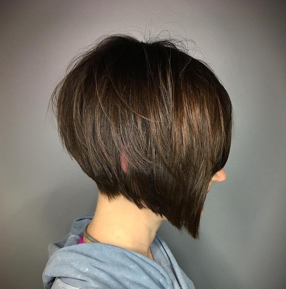 Angled Shaggy Brown Bob