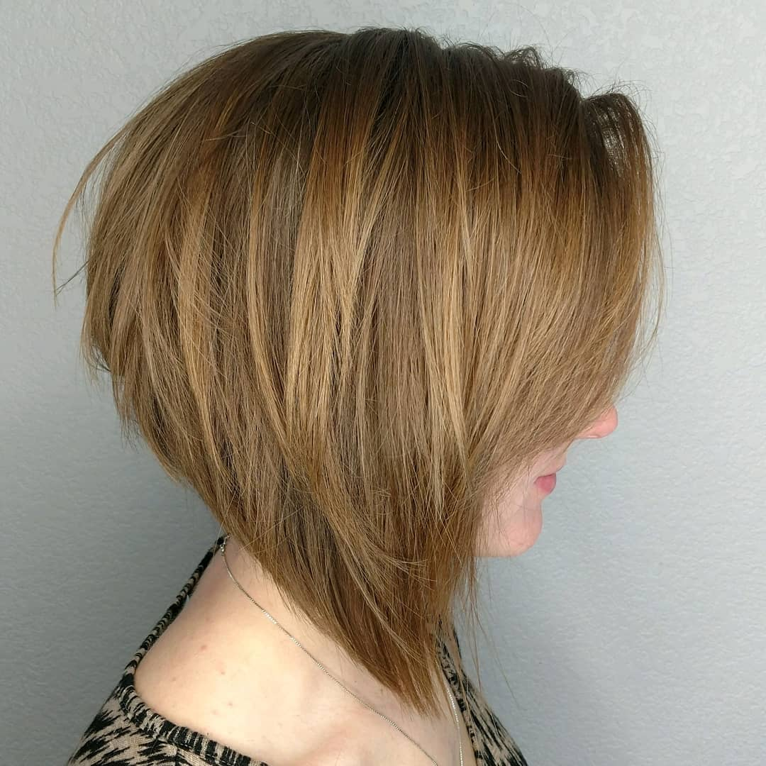 Angled Honey Blonde Bob with Layers