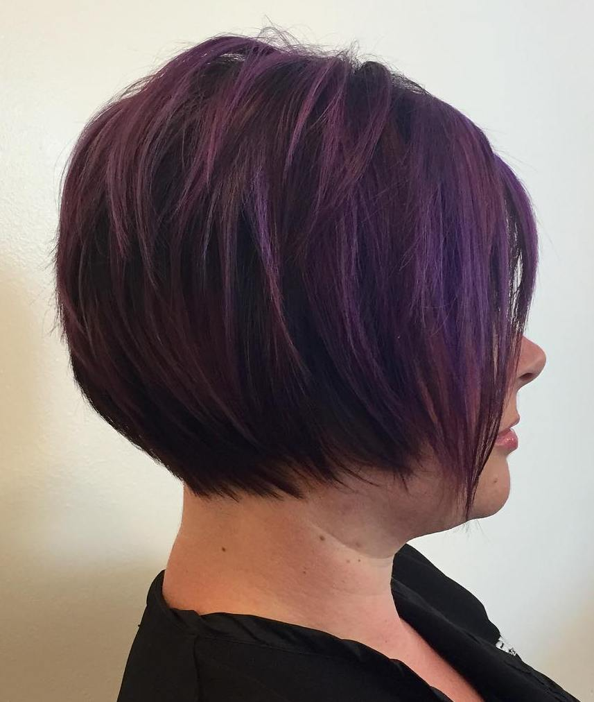 Dark Purple Layered Bob for Overweight 50 Plus