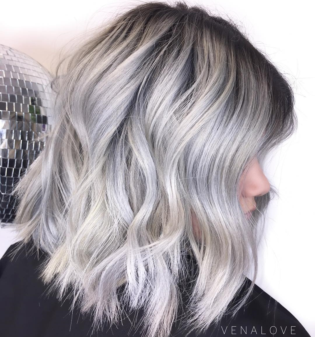 Choppy Silver Gray Lob with Black Roots