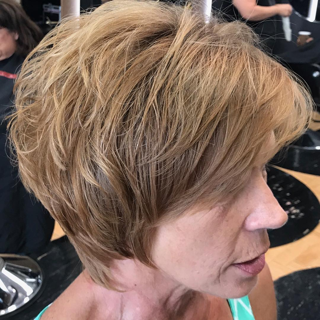 50+ Short Shaggy Light Brown Hairstyle