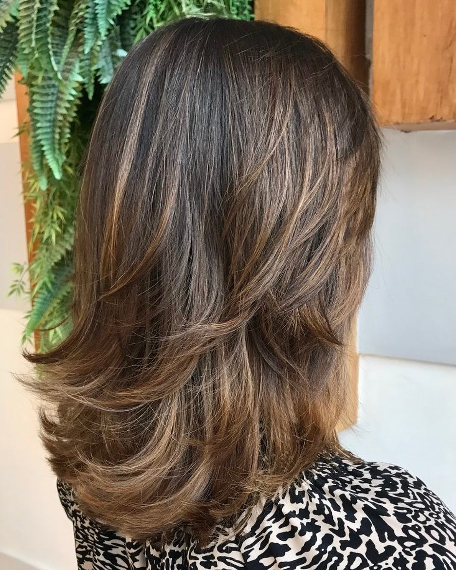 Layered Brown Medium Hair with Highlights