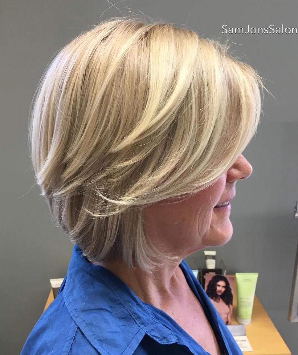 Over 50 Blonde Bob with Long Side Bangs and Layers