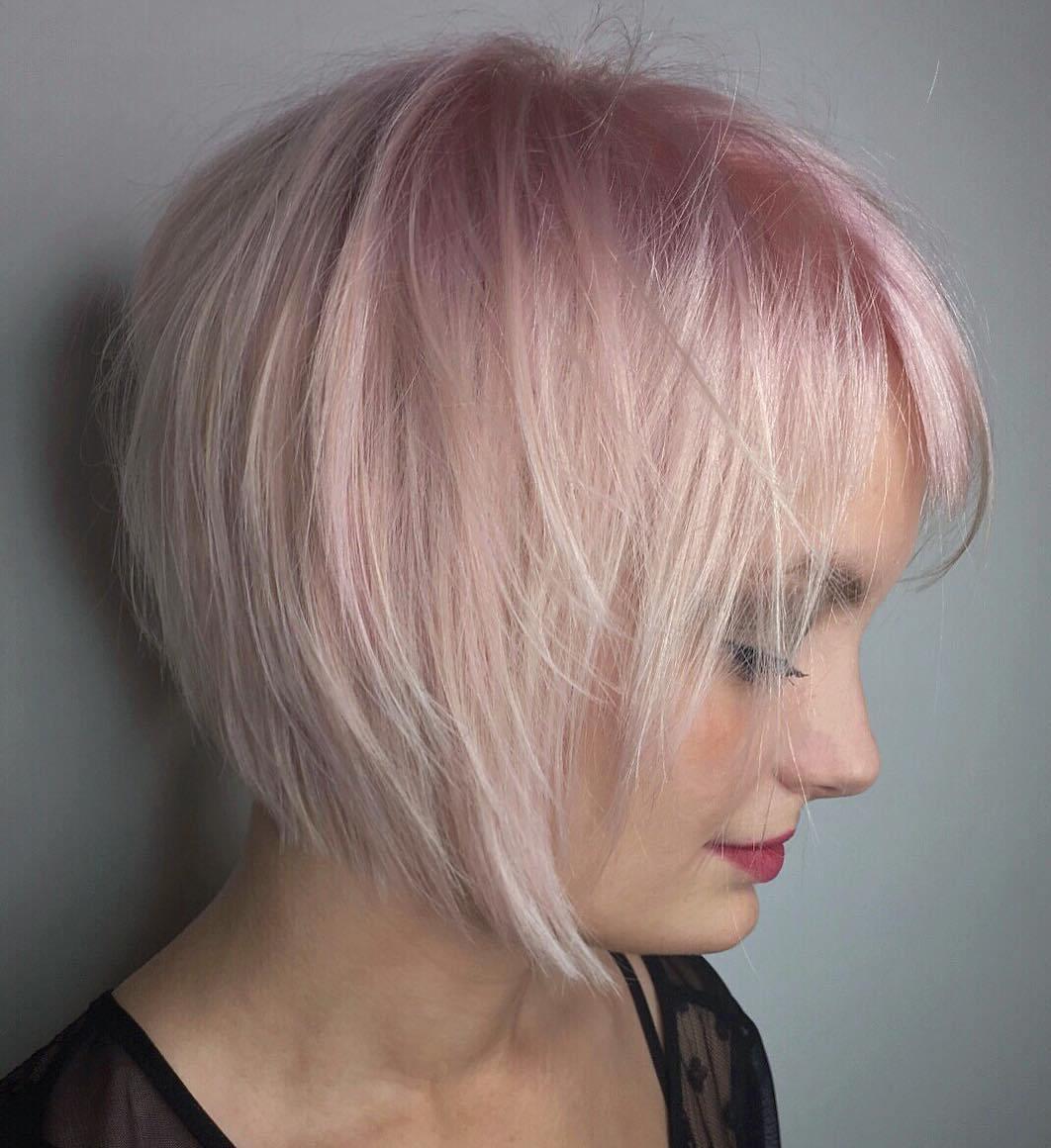 Razored Pastel Pink Shag Bob