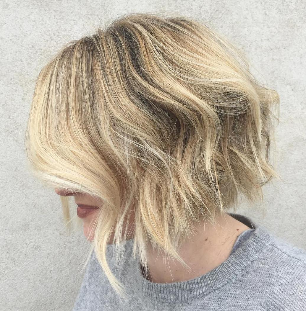 Blonde Wavy Bob with Textured Choppy Ends