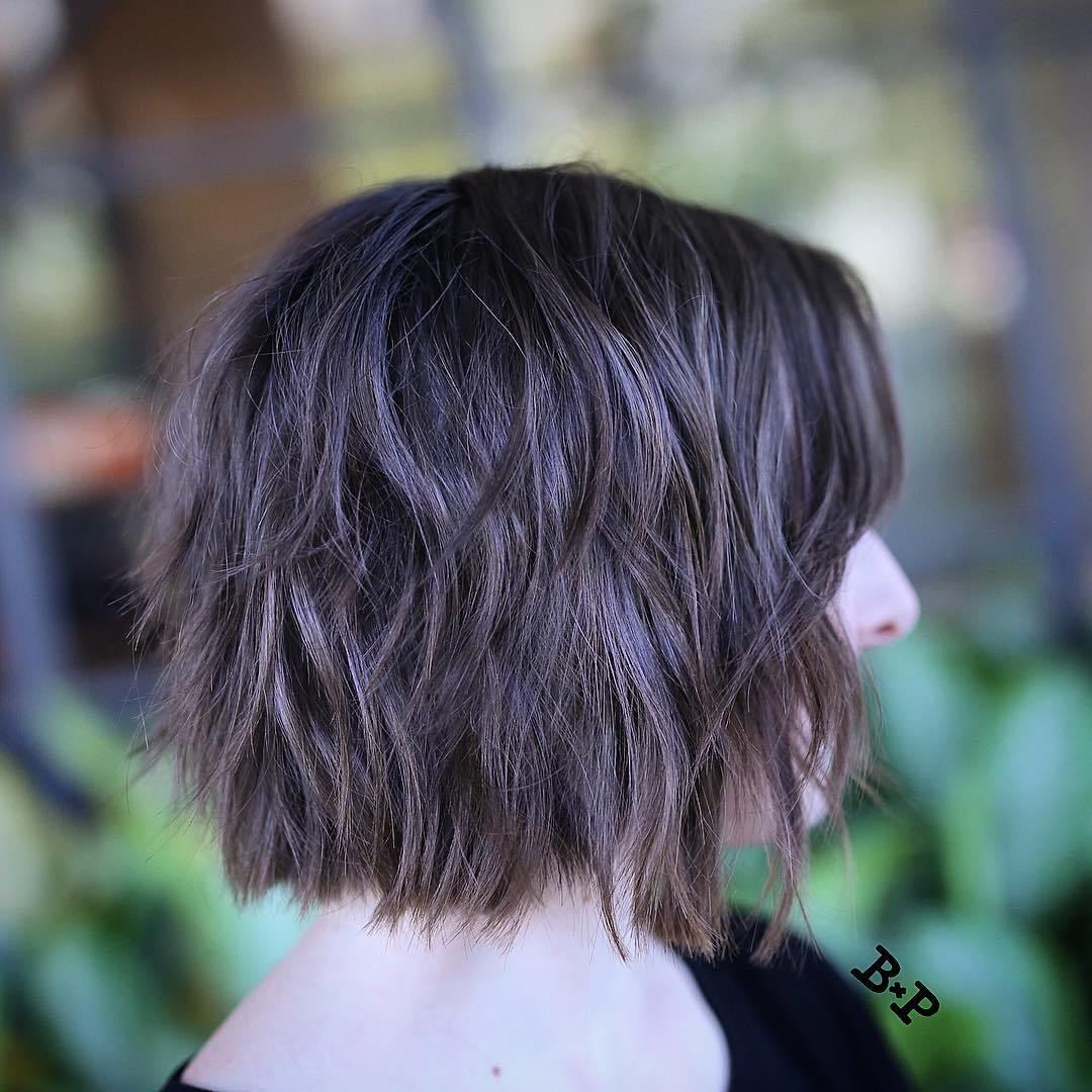 Brunette Shaggy Bob Cut