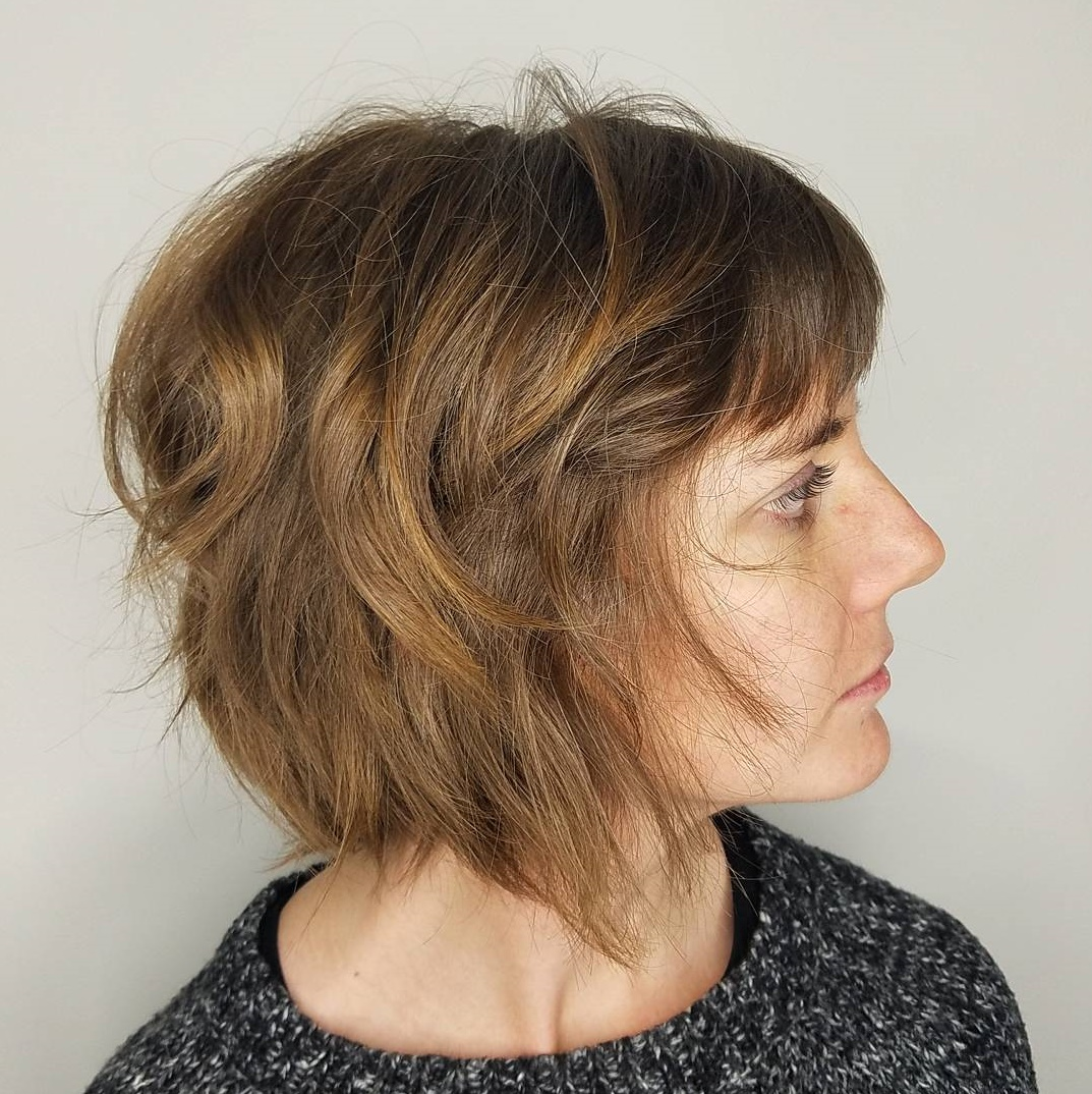 Messy Light Warm Brown Bob with Bangs