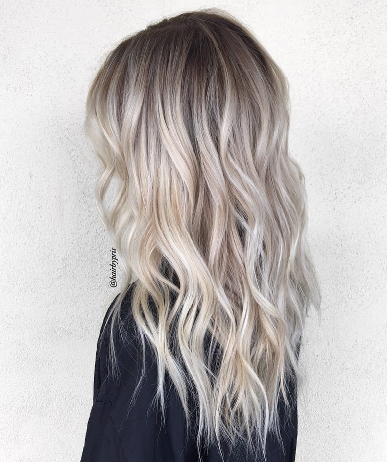 Platinum Blonde Balayage with Dark Roots