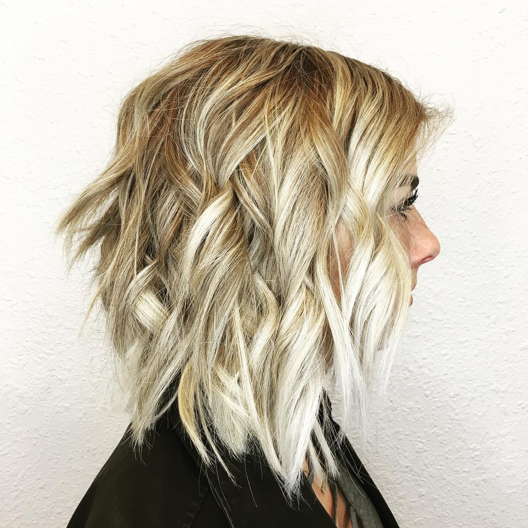 Disconnected Curled Blonde Choppy Lob