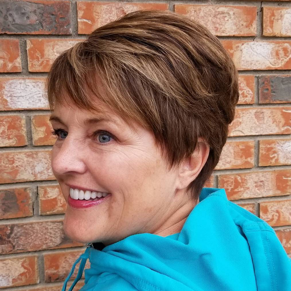 Brown Layered Boyish Pixie over 50