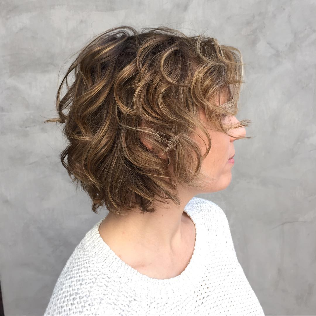 Layered Curly Light Brown Bob