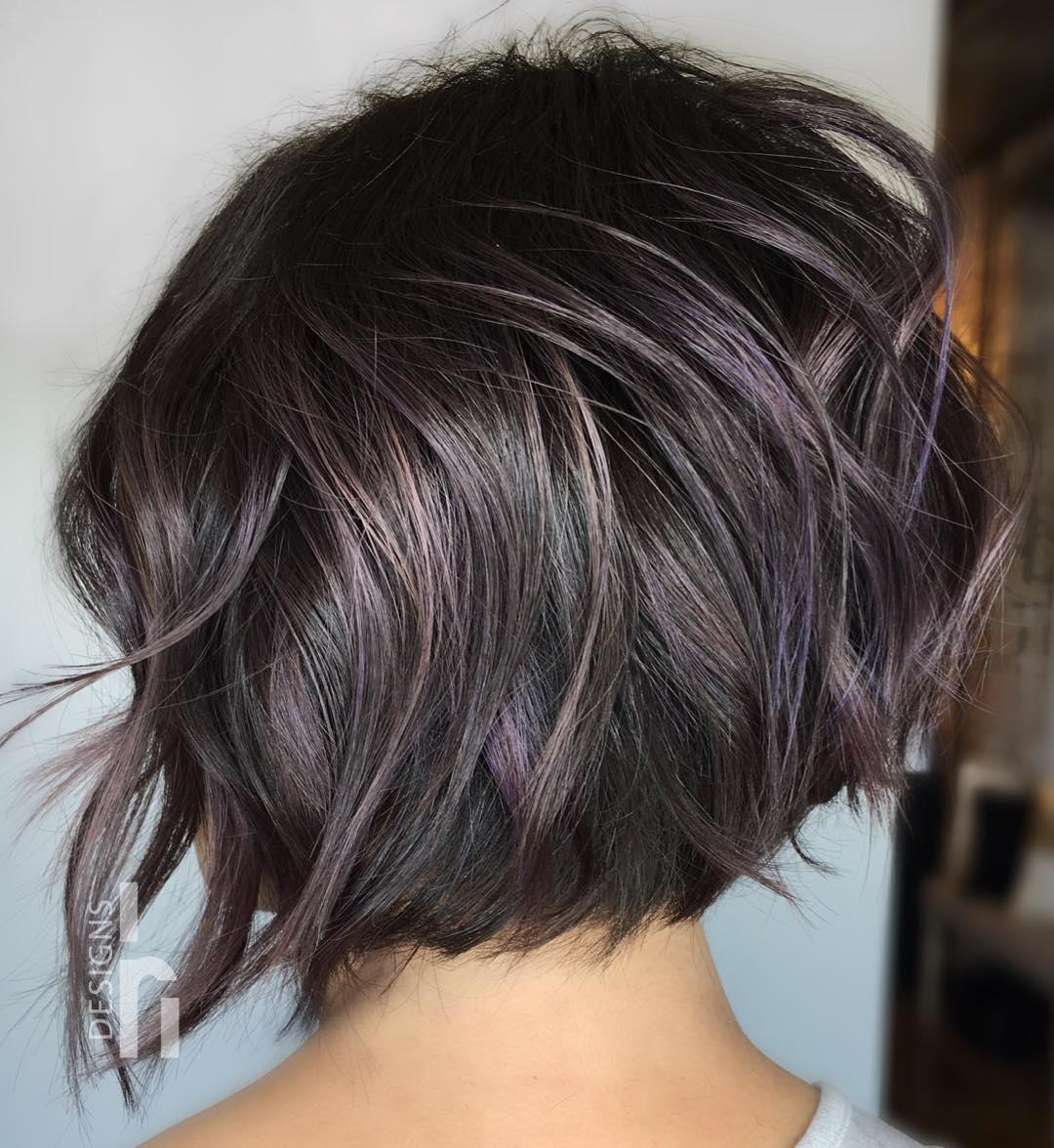 Short Choppy Purple Brown Bob Hairstyle