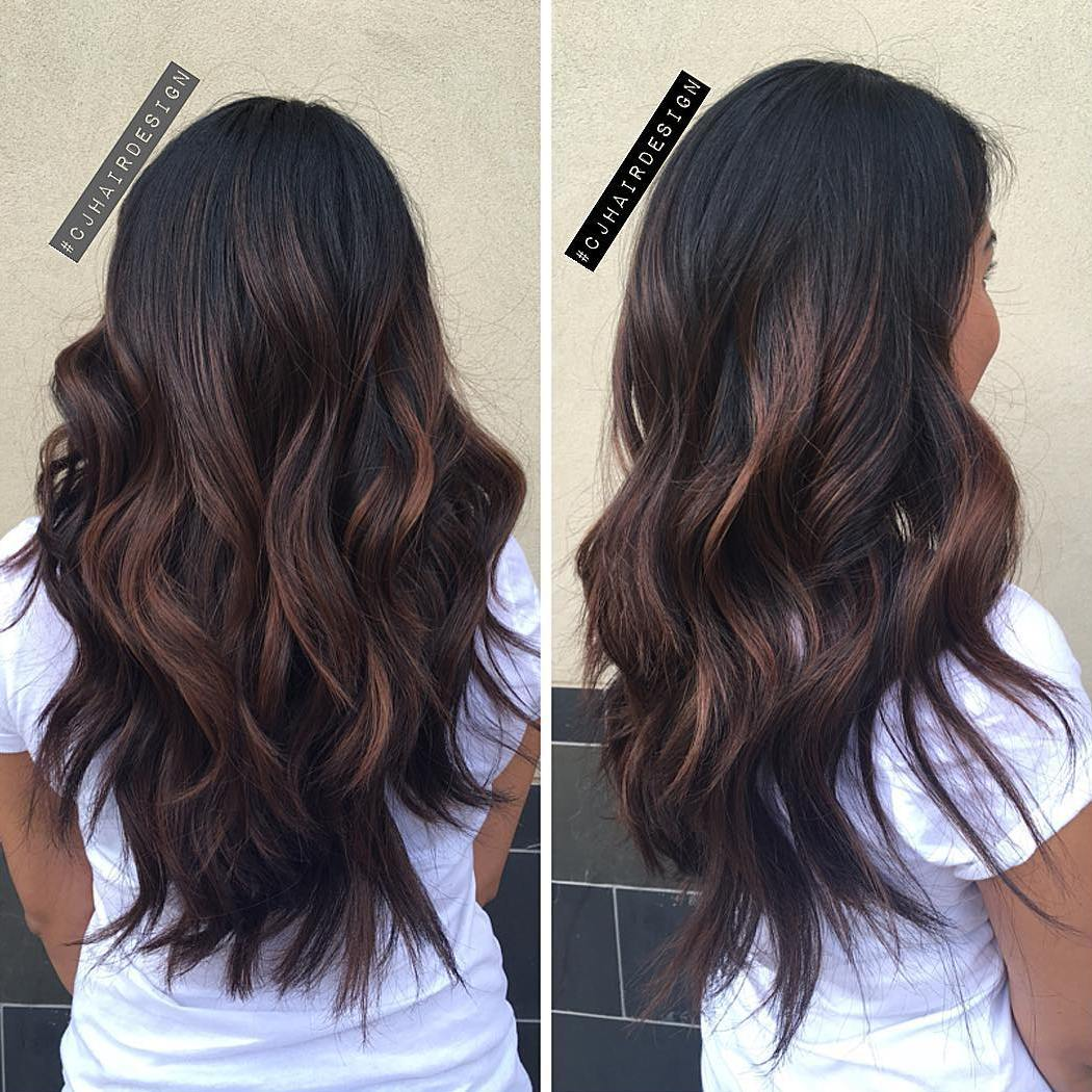 Dark Chocolate Hair with Reddish Balayage Higlights