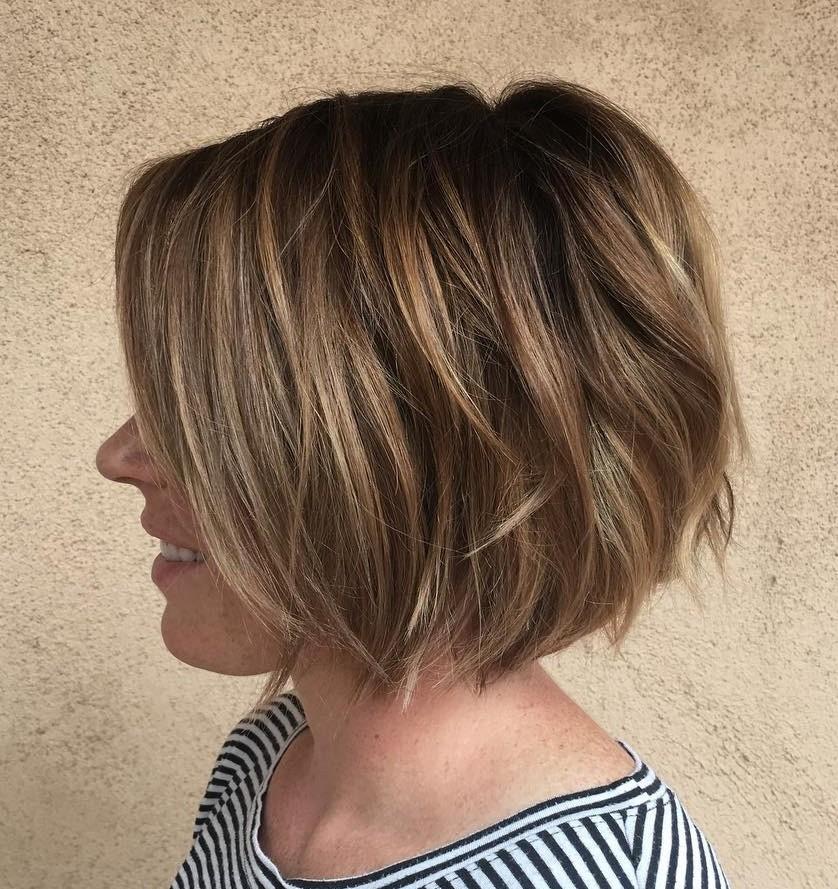 Layered Brown Bob with Sun-Kissed Highlights