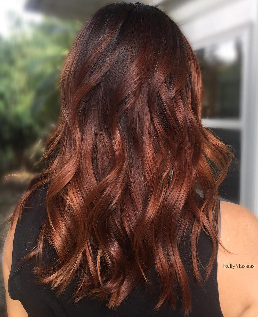 Bright Dark Copper Balayage for Brunettes