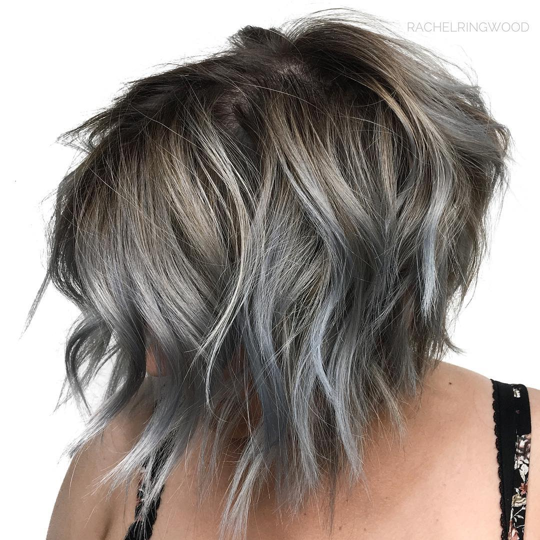 Gray Shaggy Bob with Dark Blonde Roots