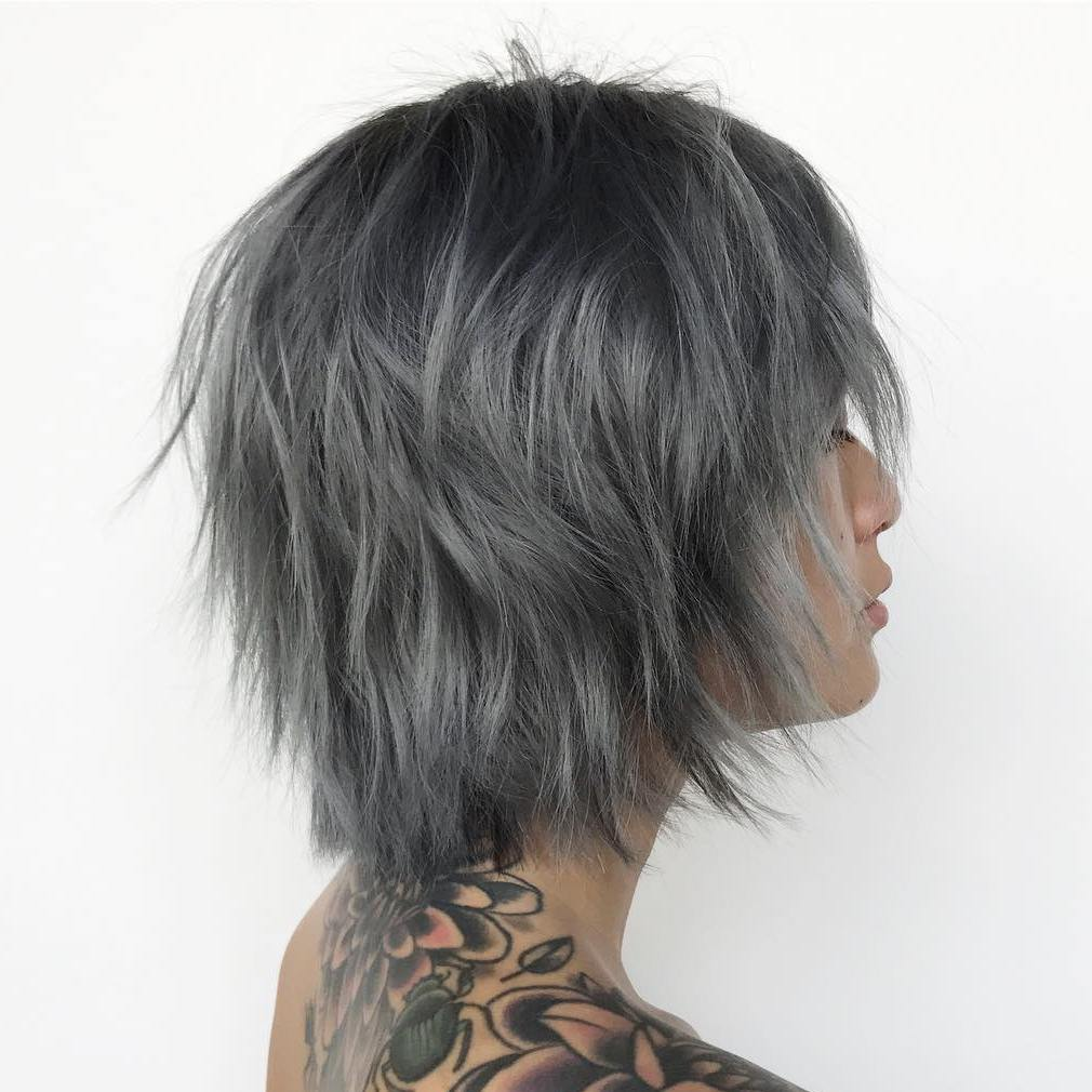 Charcoal Gray Shaggy Bob